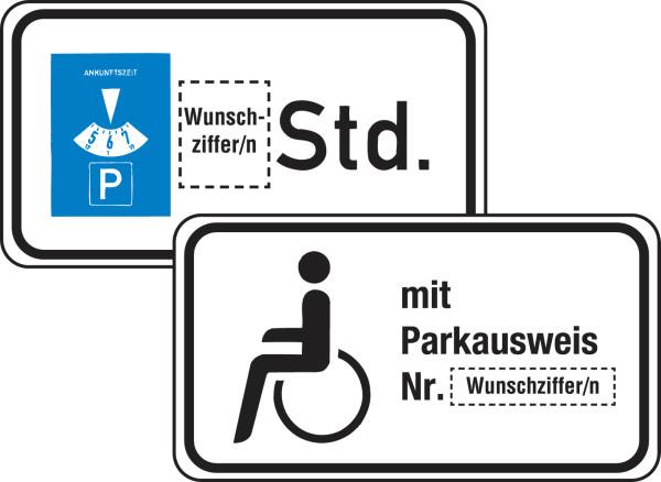 Zusatzzeichen Parken mit Wunschtext