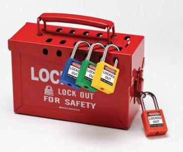 Gruppenverschlusskasten mit Lockout-Schlössern