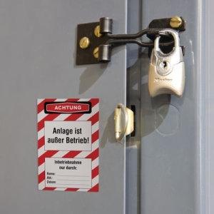 Lockout-Etikett: Achtung Anlage ist außer Betrieb