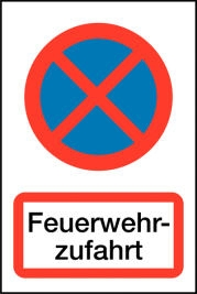 Parkverbots-Kombi-Schild-Feuerwehrzufahrt