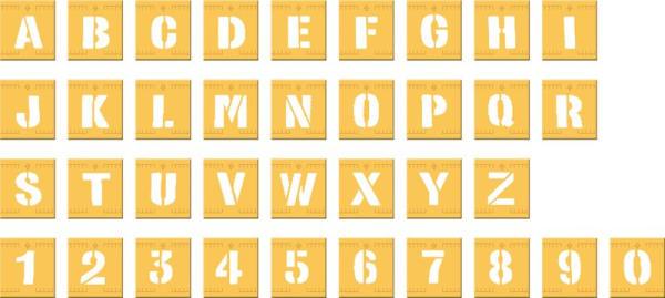Zahlen und Buchstaben Schablonen-Set aus Kunststoff