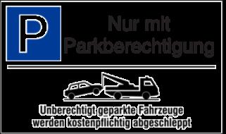Vorlage: Parkplatzschild mit Abschlepphinweis - Nur mit Parkberechtigung