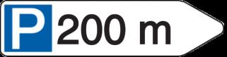 Vorlage: Wegweiser mit Parksymbol - 200 m