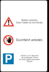 Vorlage: Verkehrstafel - Eltern haften für ihre Kinder - Durchfahrt verboten - Parksymbol
