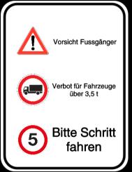 Vorlage: Alu-Schild Kombi - Achtung - Höchstgweicht - Schrittgeschwindigkeit