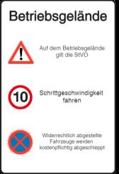 Vorlage: Verkehrstafel - Achtung - Schritt fahren - Absolutes Haltverbot