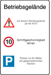 Vorlage: Verkehrstafel - Betriebsgelände - Achtung - Schrittgeschwindigkeit - Parksymbol
