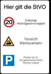 Vorlage: Verkehrstafel - Höchstgeschwindigkeit - Vorsicht Werksverkehr - Parksymbol