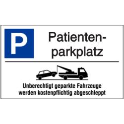 Vorlage: Parkplatz-Abschlepphinweis - Patientenparkplatz
