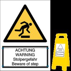 Vorlage: ACHTUNG WARNING - Stolpergefahr Beware of step