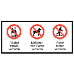 Vorlage: Alkohol trinken verboten - Mitführen von Tieren verboten - Roller fahren verboten