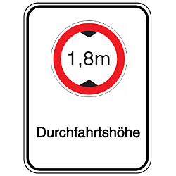 Vorlage: Alu-Höhenbegrenzungsschilder mit Symbol und Text - 1,8 m Durchfahrtshöhe
