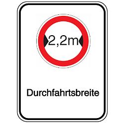 Vorlage: Alu-Breitenbegrenzungsschilder mit Symbol und Text - 2,2 m Durchfahrtsbreite