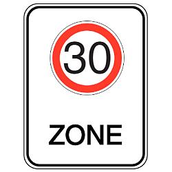 Vorlage: Alu-Geschwindigkeitsschilder mit Symbol und Text - 30 Zone