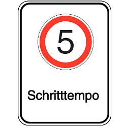 Vorlage: Alu-Geschwindigkeitsschilder mit Symbol und Text - 5 Schritttempo