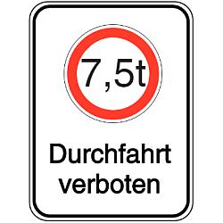 Vorlage: Alu-Schilder mit Symbol und Text - 7,5 t Durchfahrt verboten