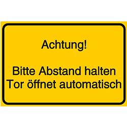 Vorlage: Bitte Abstand halten Tor öffnet automatisch