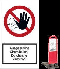 Vorlage: Ausgelaufene Chemikalien! Durchgang verboten!