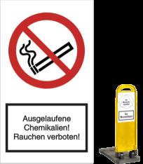 Vorlage: Ausgelaufene Chemikalien! Rauchen verboten!