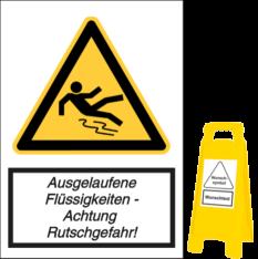 Vorlage: Ausgelaufene Flüssigkeiten - Achtung Rutschgefahr!