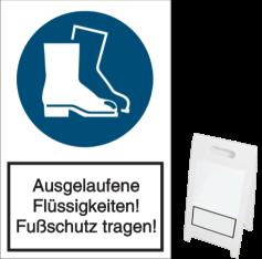 Vorlage: Ausgelaufene Flüssigkeiten! Fußschutz tragen!