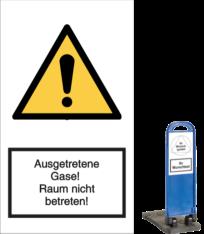 Vorlage: Ausgetretene Gase! Raum nicht betreten!