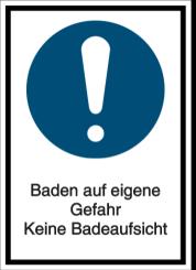 Vorlage: Baden auf eigene Gefahr-Keine Badeaufsicht