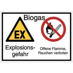Vorlage: Biogas - Explosionsgefahr - Offene Flamme, Rauchen verboten