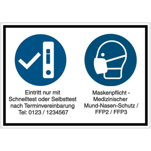Maskenpflicht Corona Hygiene-Hinweis nur mit Mundschutz Zutritt A4 Schutzhinweis