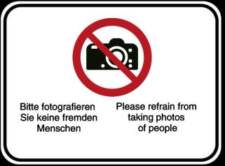 Vorlage: Bitte fotografieren Sie keine fremden Menschen