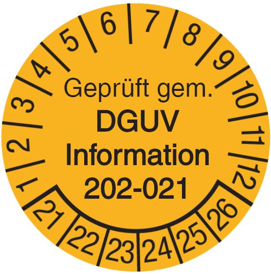 Vorlage: Geprüft gem. DGUV Information 202-021 - Sichere Schultafeln
