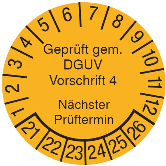 Vorlage: Geprüft gem. DGUV Vorschrift 4 - Elektrische Anlagen und Betriebsmittel