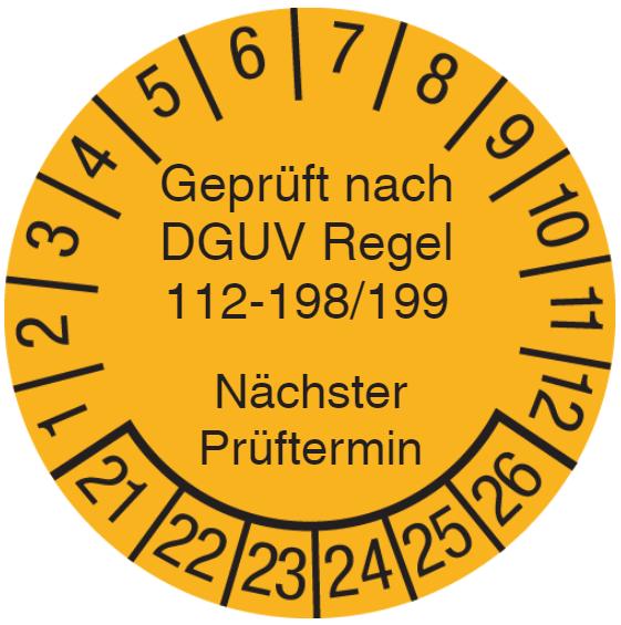 Vorlage: Geprüft nach DGUV Regel 112-198/199 - Benutzung von persönlichen Schutzausrüstungen gegen Absturz
