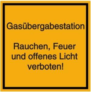 Vorlage: Gasübergabestation - Rauchen, Feuer und offenes Licht verboten!