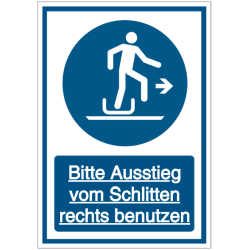 Vorlage: Kombi-Schild Bitte Ausstieg vom Schlitten rechts benutzen