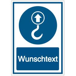 Vorlage: Kombi-Schild Hebepunkt Wunschtext