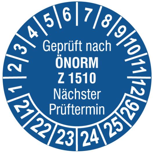 Vorlage: Leiter-Prüfplakette ÖNORM Z 1510 - Nächster Prüftermin
