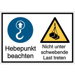Vorlage: Mehrsymbol-Schild Hebepunkt beachten - Nicht unter schwebende Last treten