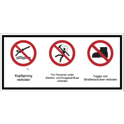 Vorlage: Mehrsymbol-Schild Kopfsprung verboten - Für Personen unter Alkohol- und Drogeneinfluss verboten - Tragen von Straßenschuhen verboten