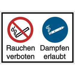 Vorlage: Mehrsymbol-Schild Rauchen verboten - Dampfen erlaubt
