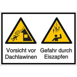 Vorlage: Mehrsymbol-Schild Vorsicht vor Dachlawinen - Gefahr durch Eiszapfen