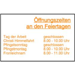 Vorlage: Öffnungszeiten an den Feiertagen - Folienaufkleber