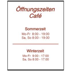 Vorlage: Öffnungszeiten Café - Sommerzeit - Winterzeit - Folienaufkleber