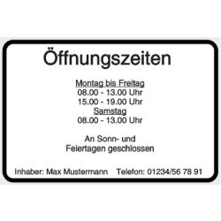 Vorlage: Öffnungszeiten - Aluminiumschild