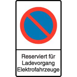 Vorlage: Parkverbot - Reserviert für Ladevorgang Elektrofahrzeuge