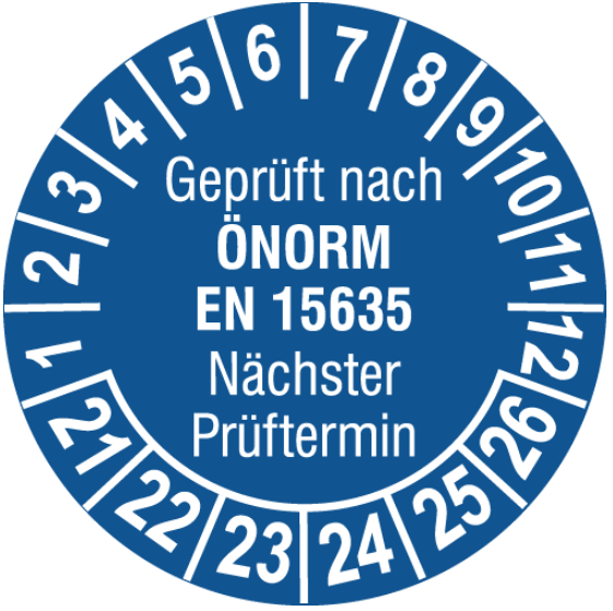Vorlage: Regal-Prüfplakette ÖNORM EN 15635 - Nächster Prüftermin