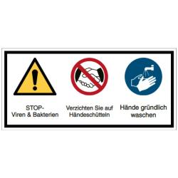 Vorlage: STOP- Viren & Bakterien - Verzichten Sie auf Handeschütteln - Hände gründlich waschen