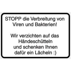 Vorlage: STOPP die Verbreitung von Viren und Bakterien! Wir verzichten auf das Händeschütteln und schenken Ihnen dafür ein Lächeln.