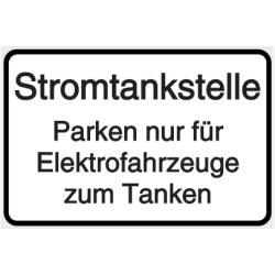 Vorlage: Stromtankstelle - Parken nur für Elektrofahrzeuge zum Tanken