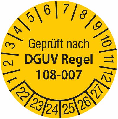 Plakette Geprüft nach DGUV Regel 108-007